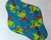 Menstrual Pad Mama Cloth Mama Pad Reusable Sanitary Pad teal blue musical frogs - size L / L Plus