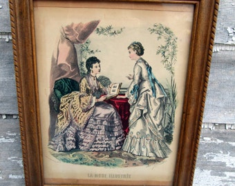 Vintage  La Mode Illustree Victorian Fashion Print Wood Framed