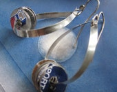Handmade Sterling Hoops with Upcycled Sardine Tin Spinners on Etsy
