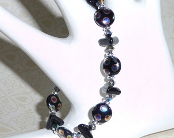 Black with Dotted Czech Beads Bracelet - B1589