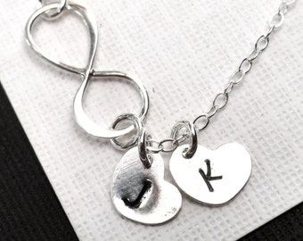 Personalized Infinity  Heart Necklace  Sterling Silver Hand Stamped Necklace  Choose up to 5 hearts
