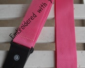 Custom Embroidered PINK Guitar Strap