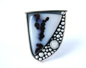 S.A.L.E. 25% Off - Sailing Away - Polka Dot Agate Sterling Silver Ring