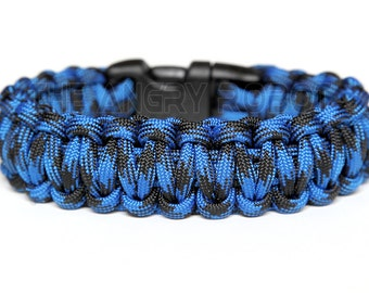 550 Paracord Survival Bracelet  - Bruiser - Blue Black