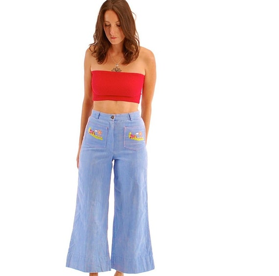 vintage baby blue high waisted embroidered pocket bell bottoms