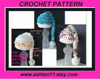INSTANT DOWNLOAD Crochet Pattern PDF 223-Little Munchkin Hat-make  preemie to adult- Permission to sell your finished hats.