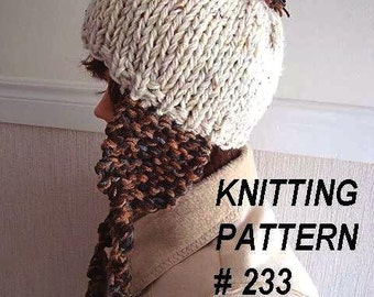 Instant Download KNITTING PATTERN hat PDF 233  Knitted Ear Flap Hat, all sizes newborn baby  to adult included, ok to sell your hats
