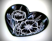 Poppies Heart Dish Flowers Black White Painted Botanicals Nature Jewelry Holder Home Decor - MADE TO ORDER