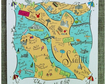 Seattle City Map Full Color Note Card