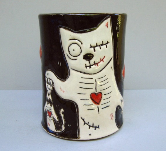 Zombie Cat Mug, Large, Black, With Undead Rat And Red Heart.