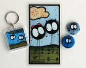Monster Set - Bookmark, Keychain, Pinback Button, and Magnet