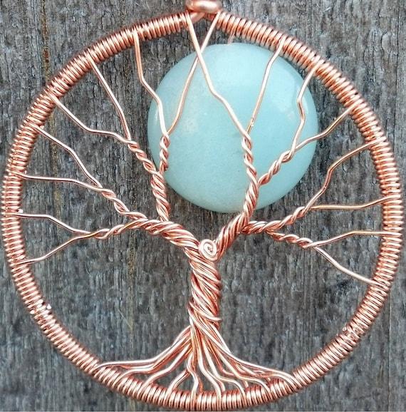 Blue Moon Tree Pendant - Copper and Amazonite - Original Design by Ethora