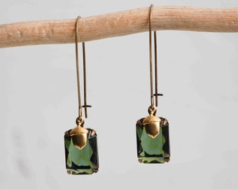 Forest ACORN EARRINGS Woodland Wedding BRIDE Crystal Jewel Vintage Style