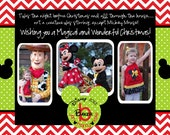 Mickey Monogram Merry Disney Inspired Christmas Card
