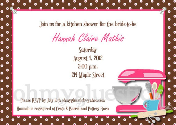 Items similar to Bridal Shower Kitchen Party Printable invitation