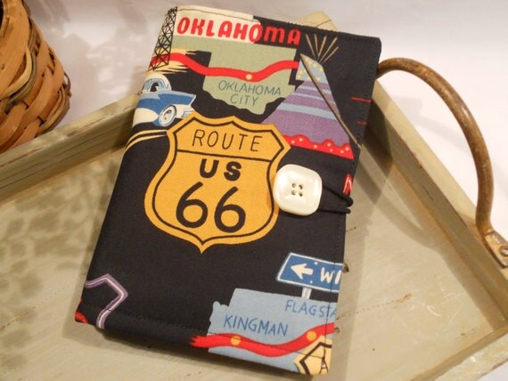 """Folded NOTE TAKER and Organizer Portfolio with Clear Vinyl ID Window...In """"Route 66"""" by Alexander Henry"""
