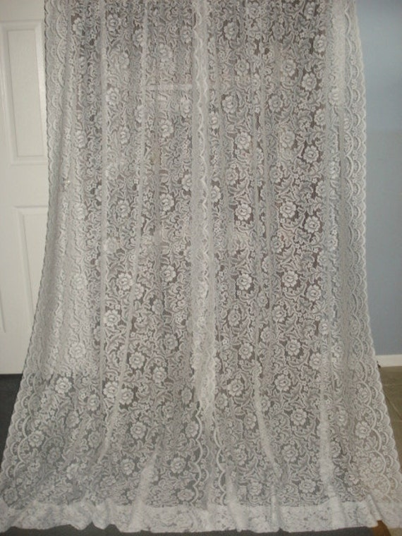 VINTAGE white rose floral lace net curtains 2 long by fabulous5