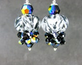 Black White Boro Lampwork Earrings, Black Crystal Cluster Earrings, Beadwork Earrings, Glass Bead Earrings, Dangle Earrings - Salt & Pepper