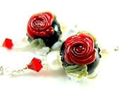 Red Rose Earrings, Lampwork Earrings, Red Cameo Rose White Flowers Black, Red Rose Earrings, Pearl Earrings- Love Song