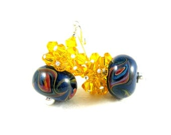 Yellow & Navy Blue Earrings, Boro Lampwork Earrings, Yellow Crystal Earrings, Beadwork Earrings, Dark Blue Earrings, Glass Earrings - Swoosh