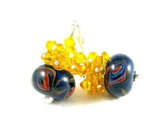 Yellow & Navy Blue Earrings, Boro Lampwork Earrings, Yellow Crystal Earrings, Beadwork Earrings, Dark Blue Earrings, Glass Earrings - Swoosh