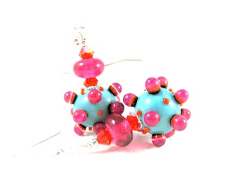 RESERVED  Turquoise Blue Hot Pink Earrings, Funky Earrings, Lampwork Earrings, Orange Blue Pink Earrings Unusual Earrings Glass Earrings -