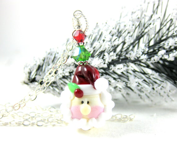 Santa Necklace, Christmas Necklace, Santa Claus Lampwork Necklace, Holiday Necklace, Father Christmas Necklace - Santa Claus