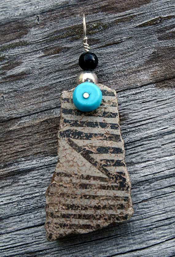 Pottery Shard Pendant with Sterling Silver Wirework, Onyx and Sleeping Beauty Turquoise