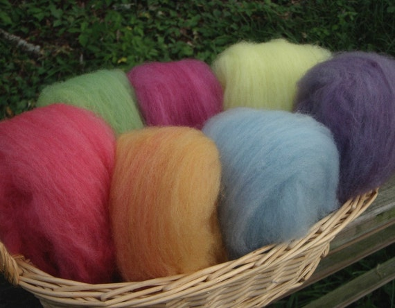Pastel Rainbow Mix Fairy Wool--Some Brights--Wet Felting/Needle Felting--2 Ounces--Seven Colors--Plant Dyed