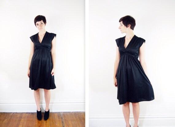 1970s Black Sleeveless Dress - S/M