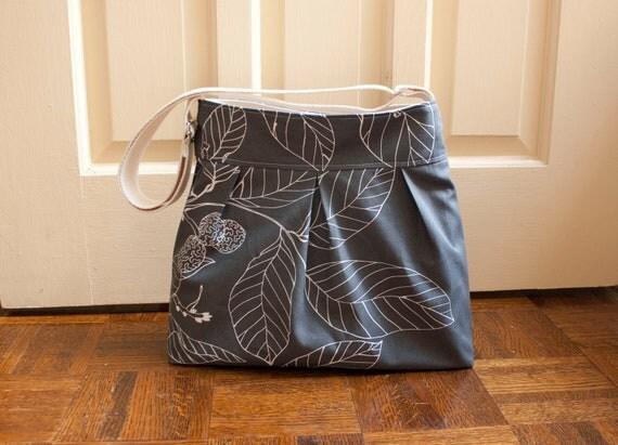 cross body diaper bag // grey camera bag // medium cross body messenger bag // READY TO SHIP // grey leaves // the mini bravo bag