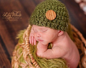 Olive Green Newborn Hat With Handmade Wood Button