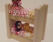 Wooden Toy, Natural Wood Doll House Mini Bunk Bed, Dollhouse Furniture, Kids gift, Handmade toy, Waldorf inspired, Jacobs Wooden Toys