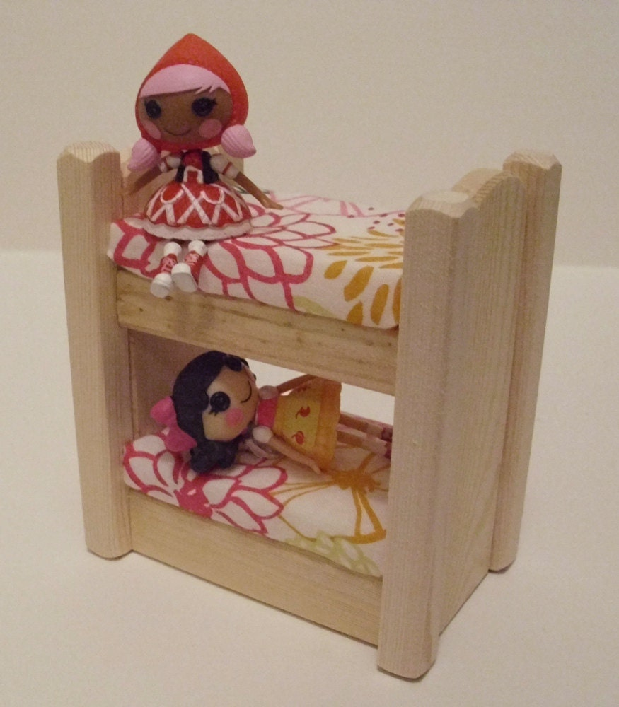 New Doll House Toy Miniature Wooden Doll House Loft With: Wooden Toy Natural Wood Doll House Mini Bunk Bed Dollhouse
