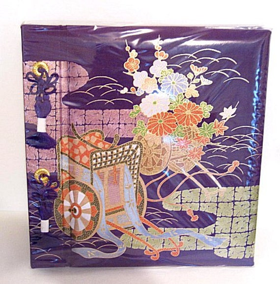 Japanese Fabric Book Cover : Japanese purple fabric cover photo album square by