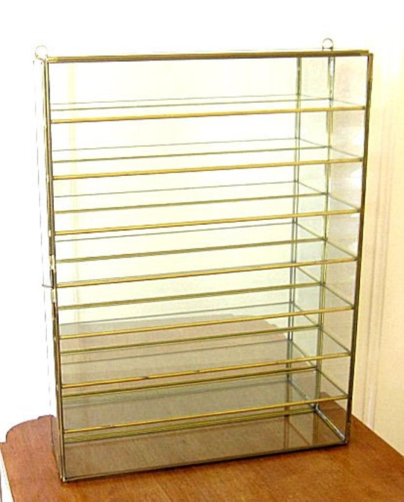 Large 8 Tier Display Cabinet - Brass, Glass, Mirror Back