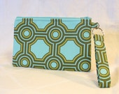 Pencil Case Wristlet Clutch Purse Zipper Pouch Cosmetic Bag Key Ring Fob Joel Dewberry Square Tiles Aqua Blue Sage Green Geometric MTO
