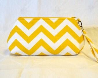 CLEARANCE SALE! Bridesmaid Clutch Chevron Fabric Curvy Wristlet Clutch Purse Zipper Purse Zig Zag Corn Yellow White