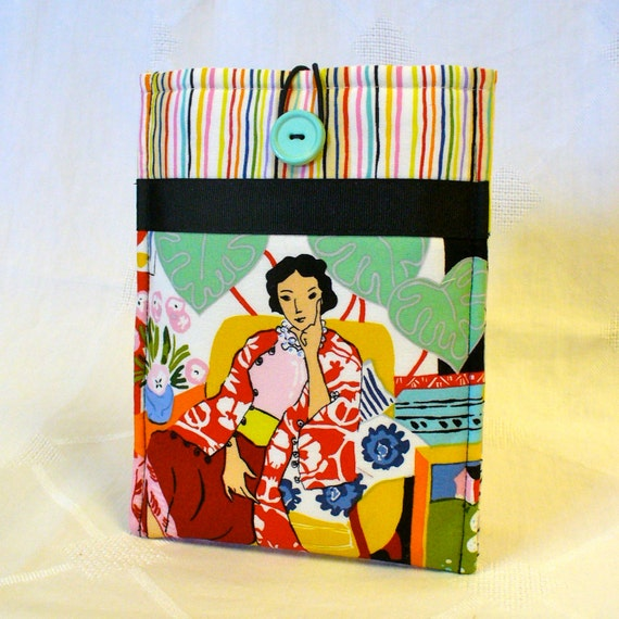 iPad Mini Sleeve NOOK Cover Ebook Case Nook Color Case Padded NOOK Sleeve Ready to Ship Matisse Fabric