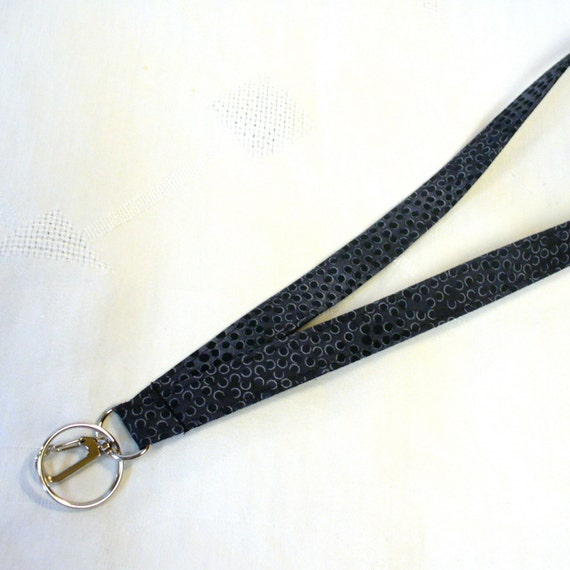 Mens Lanyard Breakaway Lanyard ID Badge Holder ID Clip Key Ring Fob Unisex Black Gray Circles Robert Kaufman MTO