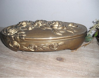 vintage ornate Jewelry Casket ... box with high relief Roses