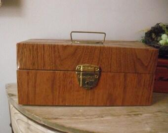 vintage Ballonoff Woodgrain Metal File Box ... Porta File ... Mad Max Mid Century Modern
