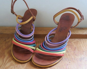 RAINBOW CONNECTION // strappy leather rainbow 1950s sandal wedges