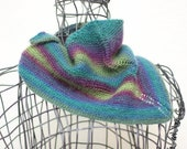 Knit Triangle Handkerchief, Scarflette, Shawlette, Greens, Purple, Blue, FREE US SHIPPING