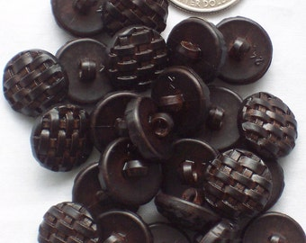 Chocolate Weave Buttons - 9/16 inch - 15mm - 50