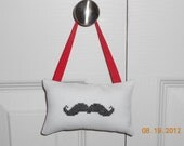 Mustache Cross Stitch Hanging Pillow