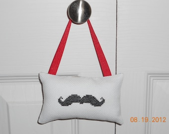 Mustache Cross Stitch Hanging Pillow