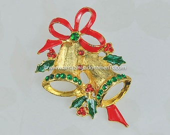 Vintage Unsigned Rhinestone and Enamel Christmas Bell Pin