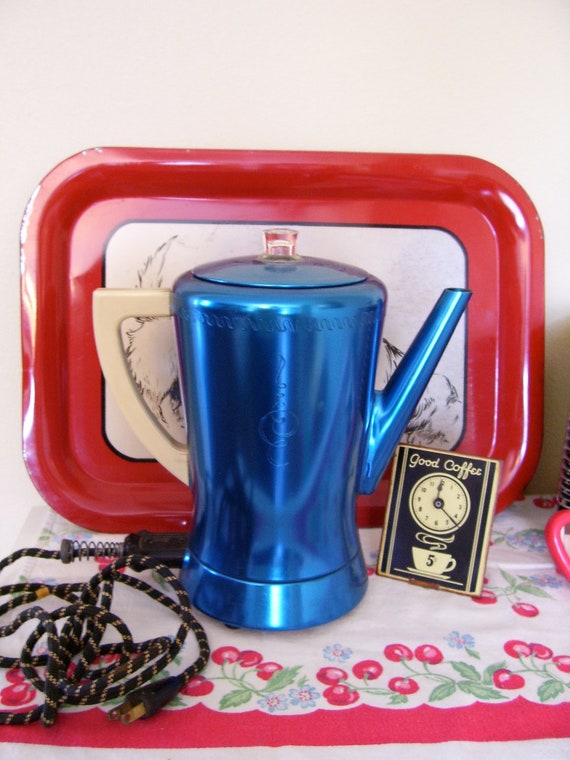 REDUCED / 1960's Mid Century Atomic Ranch West Bend Flavo-matic Metallic Blue Coffee Pot Purcolator with Ivory Bakelite Handle