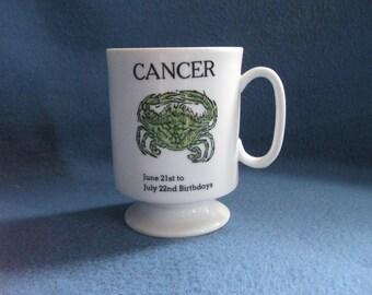 Vintage, 70s, Zodiac Mug, Cancer